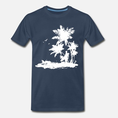 Surf surfer beach palm - Surfing -Beach-Waves-Outdoor - Men's Premium T-Shirt