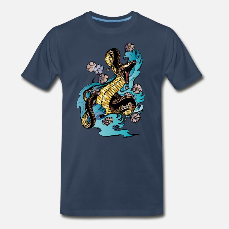 Snake T-Shirts - GOLD BRONZE SNAKE - Men's Premium T-Shirt navy