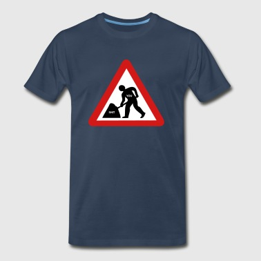 Shite Showelling shit roadsign - Men's Premium T-Shirt