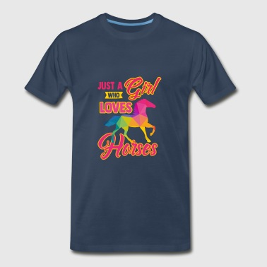 Girls Horseback Riding Just a Girl Who Loves Horses - Men's Premium T-Shirt