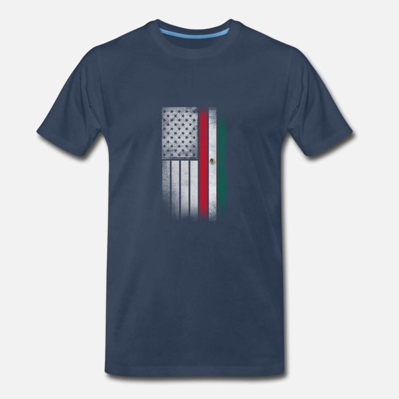 American T-Shirts - Mexican American Flag - Half Mexican Half American - Men's Premium T-Shirt navy