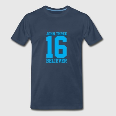Bible Verses Christian John 3:16 Believer, Lite Blue, Christian - Men's Premium T-Shirt