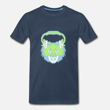 Cat With Headphones cat mouth audio music skull headphones - Men's Premium T-Shirt