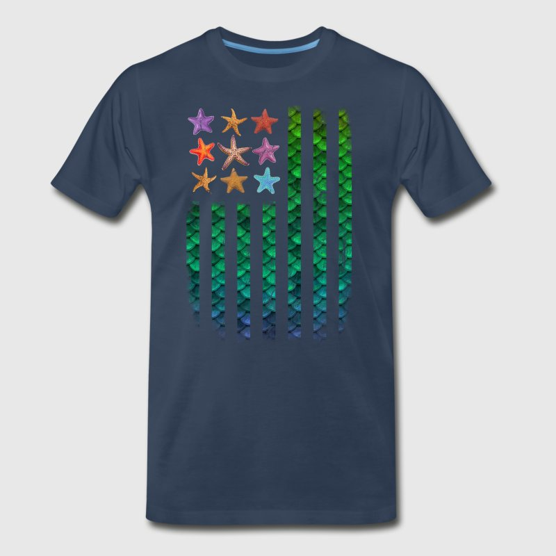 American Mermaid Flag Starfish & Stripes - Men's Premium T-Shirt