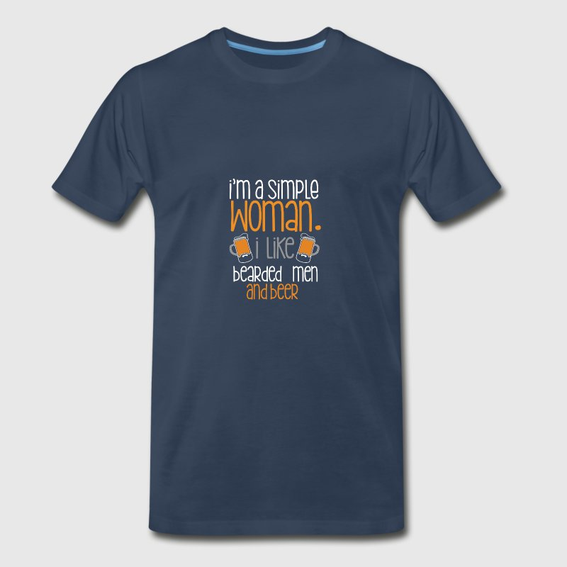 I'm a simple woman I like bearded men and beer - Men's Premium T-Shirt