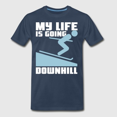 Skiing: My lie is going downhill - Men's Premium T-Shirt