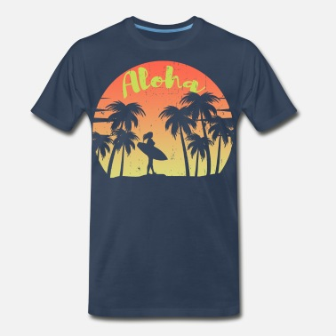 Hibiscus Flower Aloha Surfing - Men's Premium T-Shirt
