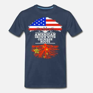 China Flag American Grown With Chinese Roots - Men's Premium T-Shirt