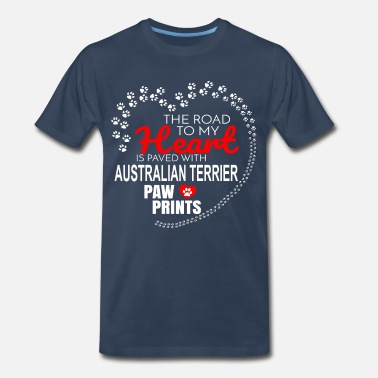 Paws Heart The Road To My Heart Is Paved With Australian - Men's Premium T-Shirt
