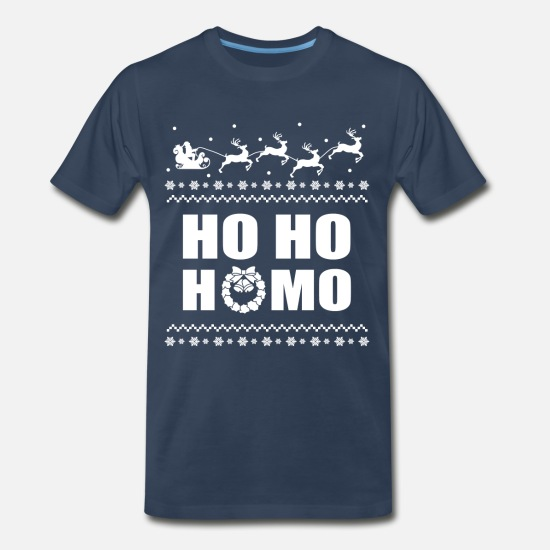 Sweater Ho Ho Homo Christmas Men/'s Navy Blue