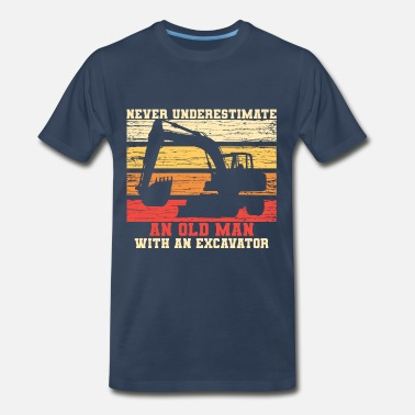 Destruction Old Man With An Excavator - Men's Premium T-Shirt