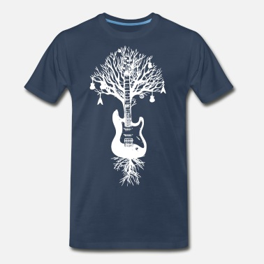 Tree Nature Guitar White Tree Music Banksy Art - Men's Premium T-Shirt