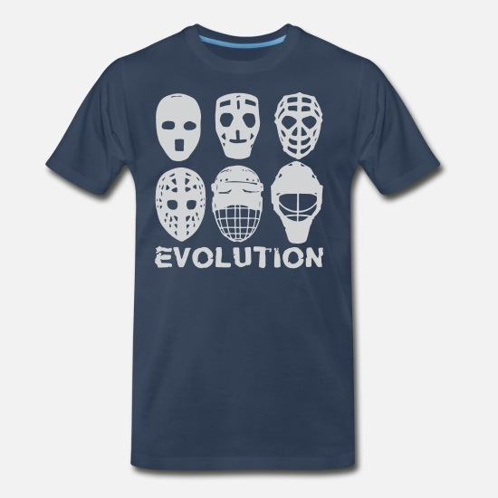 Hockey T-Shirts - hockey goalie mask evolution - Men's Premium T-Shirt navy
