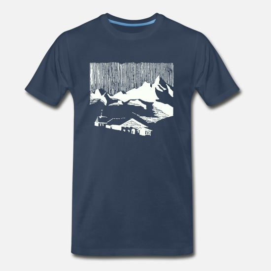 Nature T-Shirts - Mountain Village - Men's Premium T-Shirt navy