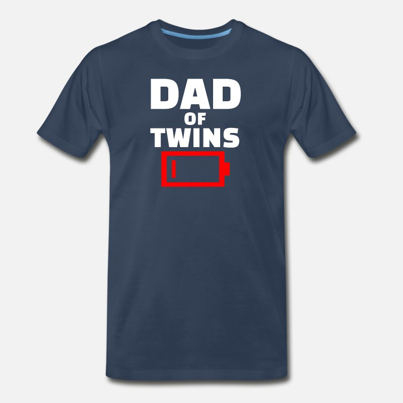 dbb160e62 Twins T-Shirts - Tired Dad Of Twins Fathers Day Funny Low Battery - Men's