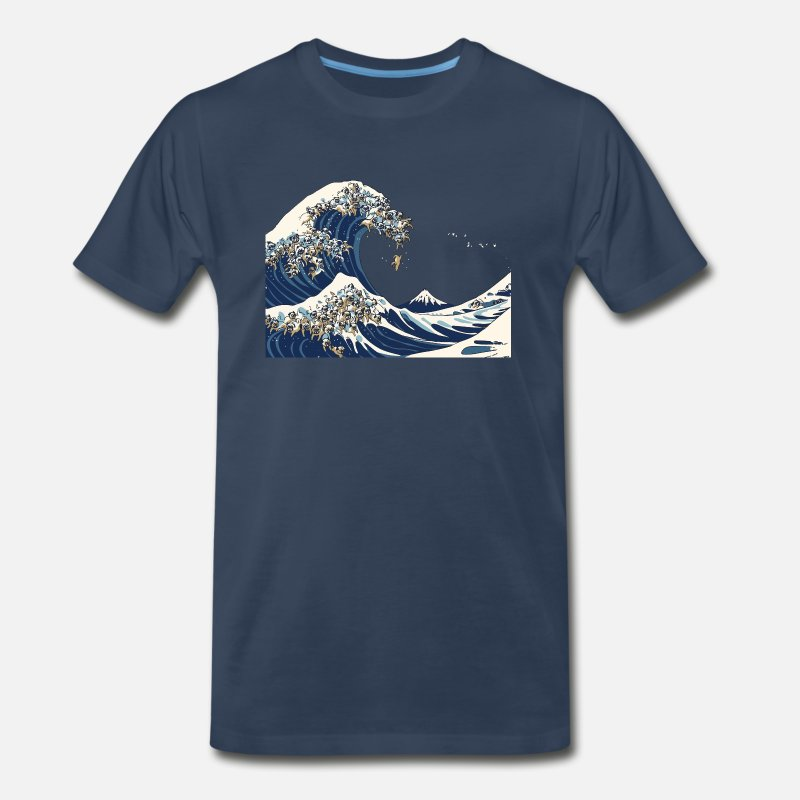 Pug T-Shirts - The Great Wave of Pug - Men's Premium T-Shirt navy