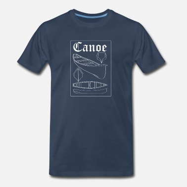 Car Apparel Vintage Canoe Blueprint - Canoeing River Kayak - Men's Premium T-Shirt
