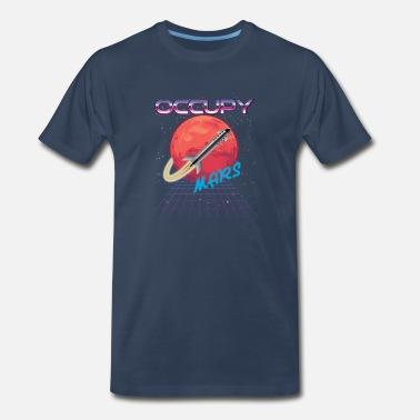 Starship Occupy Mars synthwave synthwave - Men's Premium T-Shirt