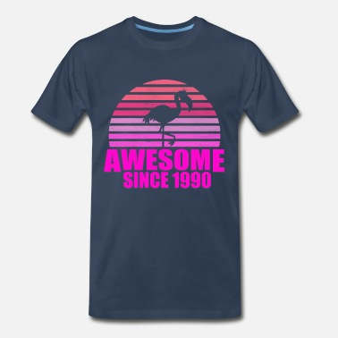 Born On 29 June Flamingo 29th Birthday Awesome Since 1990 - Men's Premium T-Shirt