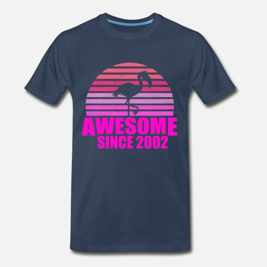 Pink T-Shirts - flamingo awesome since 2002 17th birthday - Men's Premium T-Shirt navy