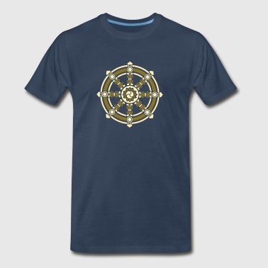 Dharmachakra, Darma Wheel of Law, Buddhist Symbol - Men's Premium T-Shirt