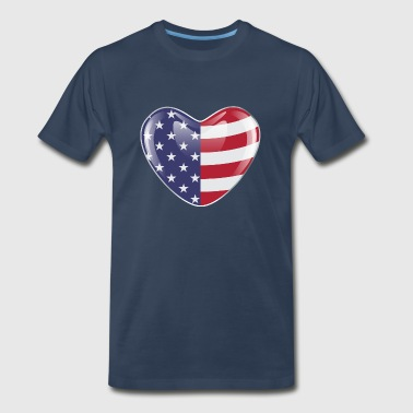 Original USA symbol American flag on a heart shape - Men's Premium T-Shirt