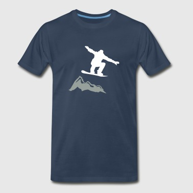 Snowboarder jump Mountain - Men's Premium T-Shirt