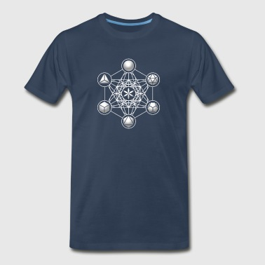 Metatrons Cube, Platonic Solids, Sacred Geometry - Men's Premium T-Shirt
