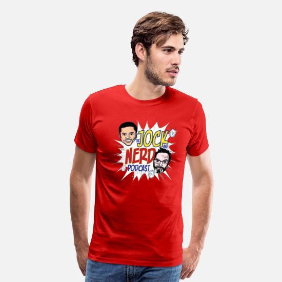 Geek T-Shirts - Jock and Nerd Podcast - Men's Premium T-Shirt red
