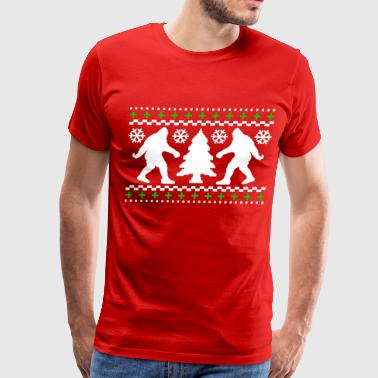 Ugly Christmas Ugly Holiday Bigfoot Christmas Sweater - Men's Premium T-Shirt