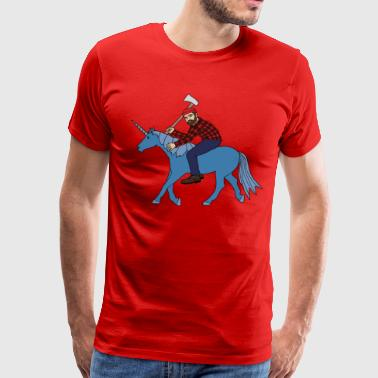 paul bunyan riding babe unicorn - Men's Premium T-Shirt