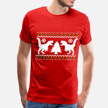 Christmas Tree Ugly T-REX Christmas Sweater - Men's Premium T-Shirt