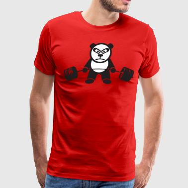 Bear Deadlifting Weightlifting Panda Bear (Deadlift) - Men's Premium T-Shirt