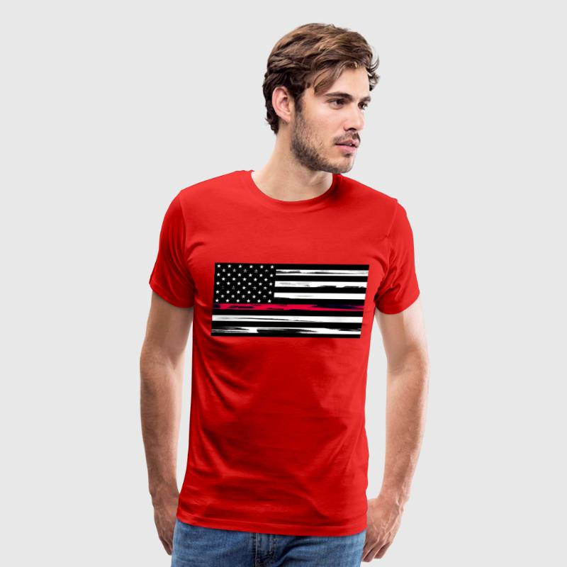 Firefighter US Flag with Red Stripe - Men's Premiu - Men's Premium T-Shirt