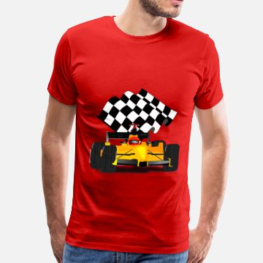 Waving Yellow Race Car with Checkered Flag - Men's Premium T-Shirt