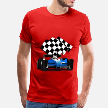 Waving Blue Race Car with Checkered Flag - Men's Premium T-Shirt