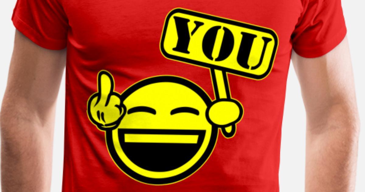 Smiley Face Middle Finger Mens Premium T Shirt Spreadshirt