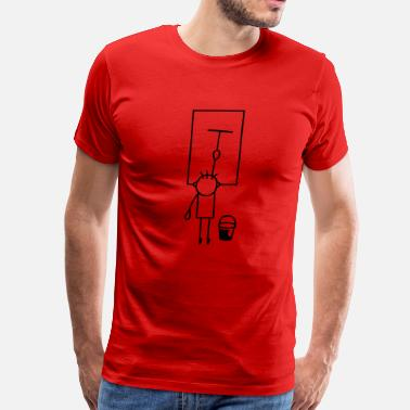 Window Cleaning Man cleans window - Men's Premium T-Shirt