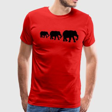 Elephant family, silhouettes. - Men's Premium T-Shirt
