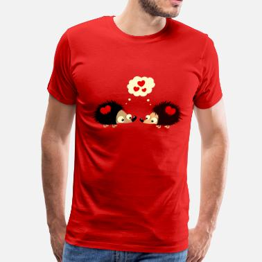 Hedgehog Valentines Day Hedgehogs fall in love - Men's Premium T-Shirt