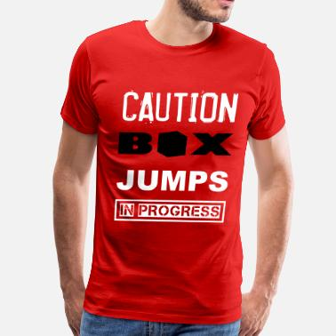 Box Jump Funny Box Jumps Caution WOD Funny Inspiration - Men's Premium T-Shirt