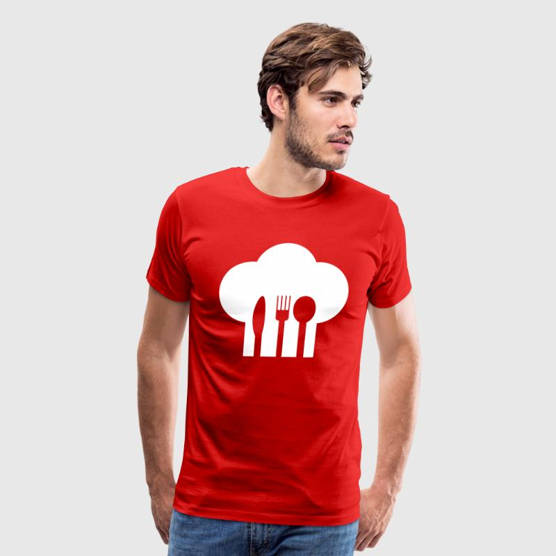 Chef hat with knife, fork and spoon - Men's Premium T-Shirt