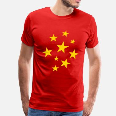 Red With Yellow Star Stars Party Design (White) - Men's Premium T-Shirt
