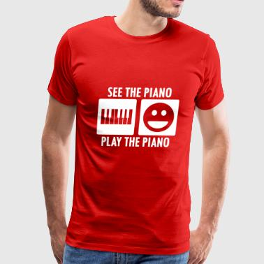 See the Piano Play the Piano in White - Men's Premium T-Shirt