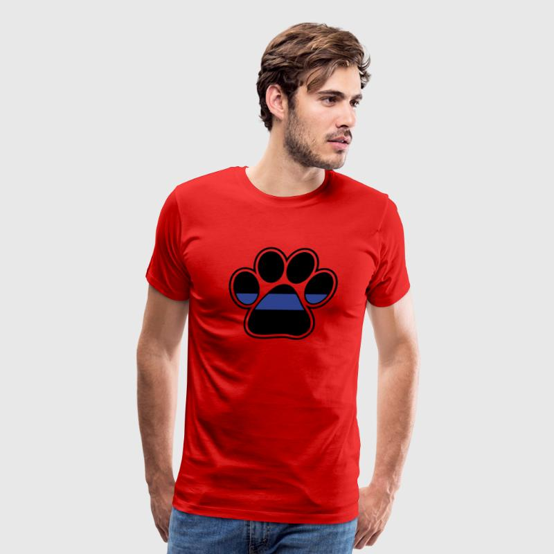 Blue line police paw print for K9 - Men's Premium T-Shirt
