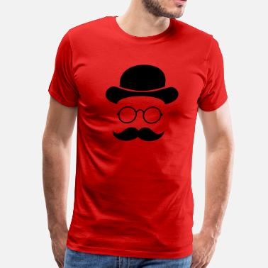 Smylie Funny vintage face with Moustache & Glasses - Men's Premium T-Shirt