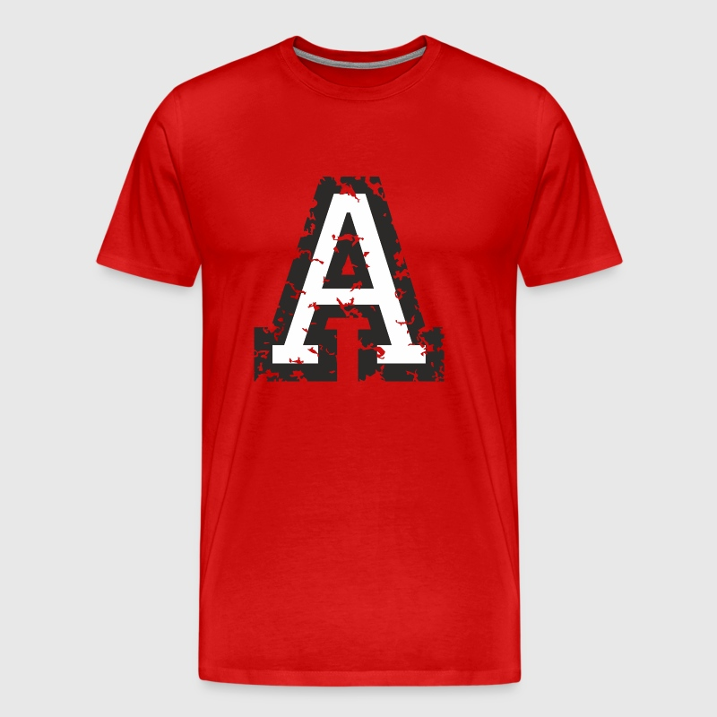 Letter A (Distressed) Black/White - Men's Premium T-Shirt