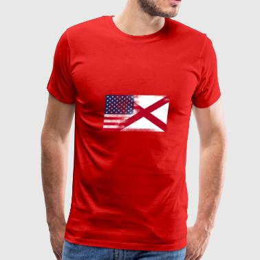 Alabama State Flag Alabama American Flag Fusion - Men's Premium T-Shirt