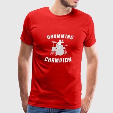 Drummer Drums Drumming Champion Cool Drummer Silhouette Music - Men's Premium T-Shirt