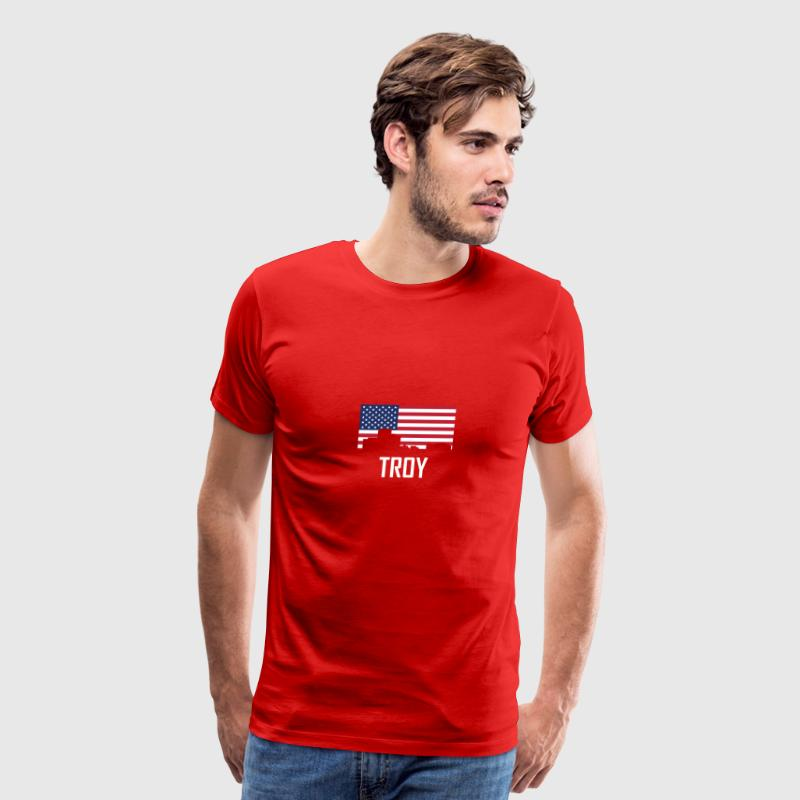 Troy Michigan Skyline American Flag - Men's Premium T-Shirt